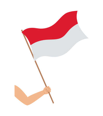 hand with indonesia flag Çizim