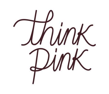 think pink lettering Çizim