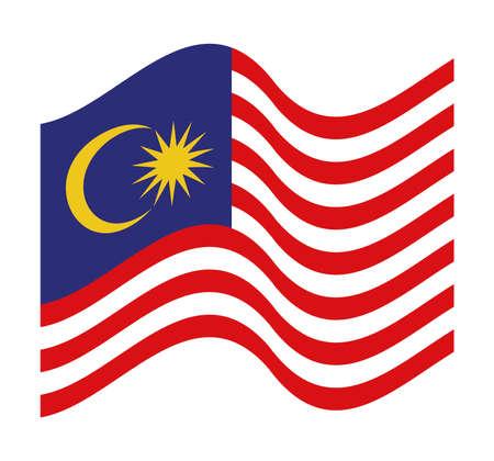 waved malaysia flag representation Çizim