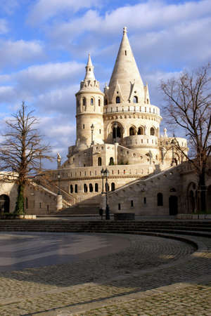 schulek: Fishermans Bastion in Budapest Hungary shining in sunlight Stock Photo