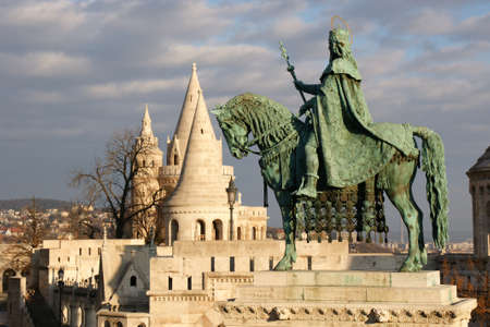 bl: Statue of King Stephen in Sunlight at Fishermans Bastion in Budapest, Hungary