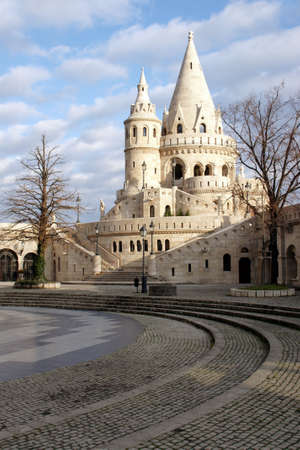 schulek: Shot of Fishermans Bastion, a neoGothic white fairytale castle in sunlight in Budapest hungarian
