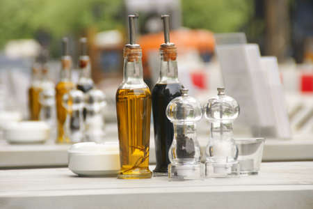 olive oil and vinegar bottles in Berlin restaurant photo