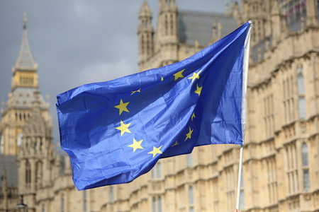 The Eu flag held high as a protest in front of the Palace of Westminster Editorial