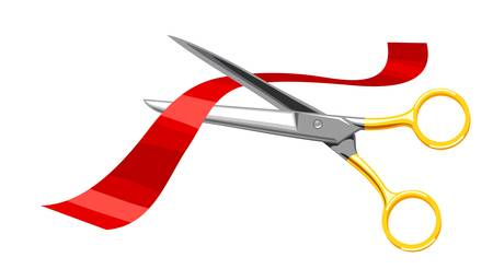Scissors, cut the red tape on white background. Illustration