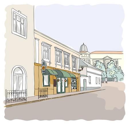 cobblestone street: Street in the old town. Illustration