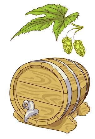 basement: Old wooden barrel and hop branch. Vector illustration.