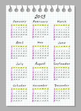 Calendar for 2013. Week begins with Sunday. Handwork font. Vector illustration. Stock Vector - 15290342
