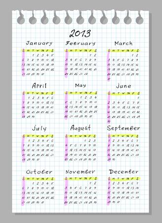 Calendar for 2013. Week begins with Sunday. Handwork font. Vector illustration. Vector