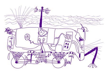 Unique underwater robot car. Sketch by seven year old boy.