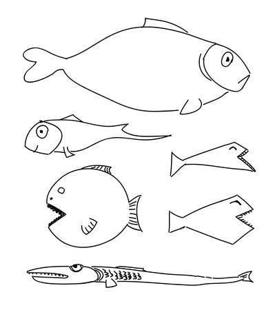 Humorous drawing fish. Stock Vector - 15393199