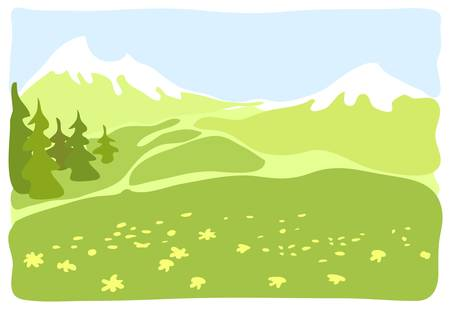 Meadow in a mountain valley. Stock Vector - 15990885