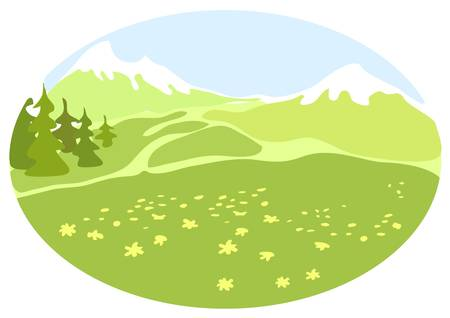 Meadow in a mountain valley. Illustration