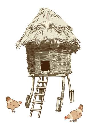 Ethnic village coop. Vecktor illustration.