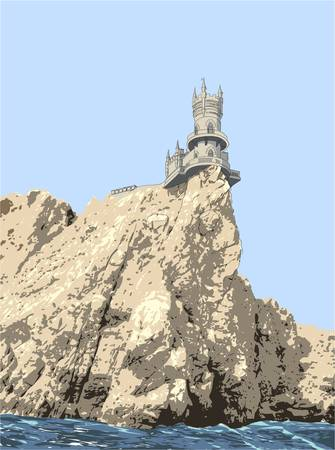 balcony view: Swallows Nest  is a decorative castle near Yalta on the Crimean peninsula in southern Ukraine.