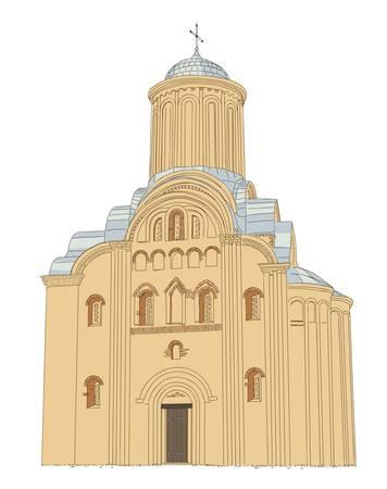 old church: Pyatnytska (St. Paraskeva) church is a functioning church in Chernigiv, Ukraine.  Illustration