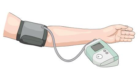 pressure gauge: Measurement of blood pressure. Illustration