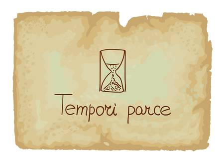 proverbs: Tempori parce - is a Latin term about Save a time Illustration