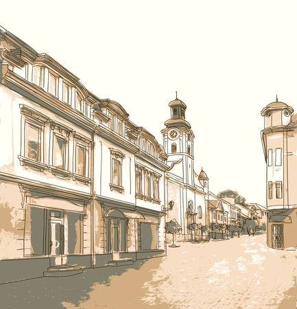 Street in the old town. Illustration