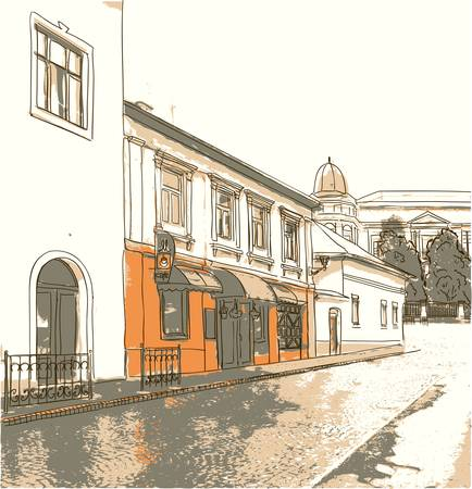 자갈: 오래 된 마에서 거리 일러스트