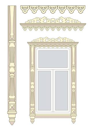 Set of wooden decorations for the window Stock Vector - 18344158