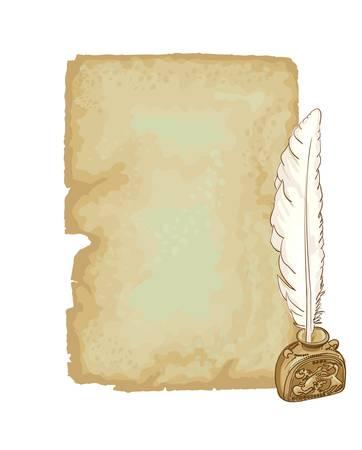 stilus: Vintage paper and pen. Vector illustratiopn.