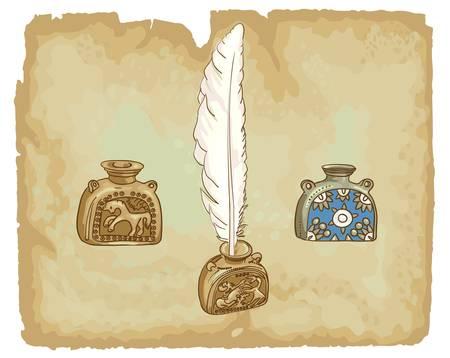 feather pen: Antique inkwells.  17th century. Vector illustration. Illustration