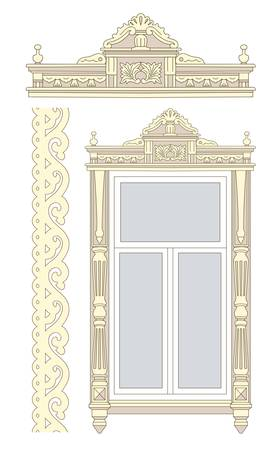 Set of wooden decorations for the window. Vector illustration. Vector
