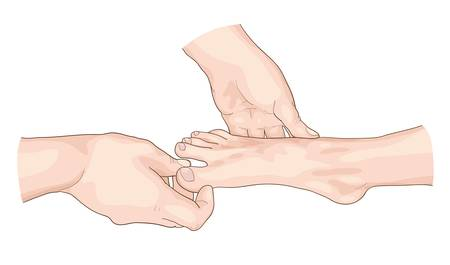 feet care: Examination of the foot. Vector illustration.