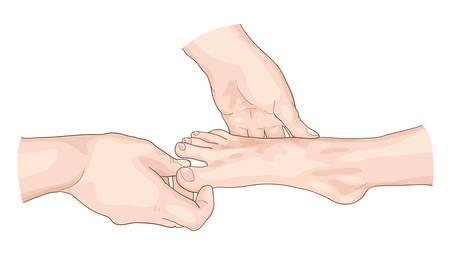 foot doctor: Examination of the foot. Vector illustration.