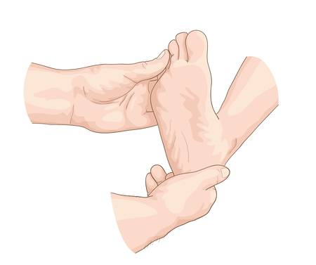 Examination of the foot. Vector illustration.