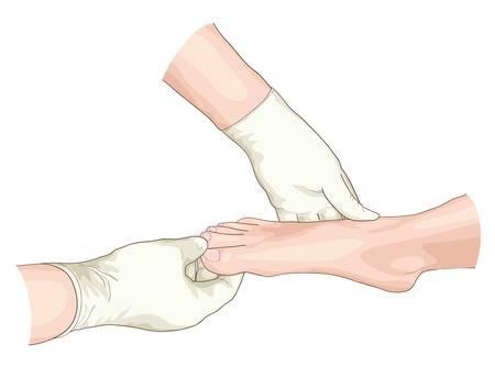 dolore ai piedi: Esame del piede. Illustrazione di vettore.