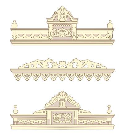 Set of wooden decorations for the window. Vector illustration. Illustration