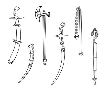 mace: Swords, ax and mace. Set of ancient weapons.  Vector illustration. Illustration