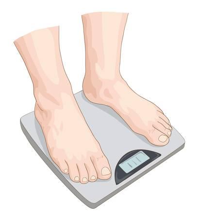 Man on the scale. Vector illustration. Illustration
