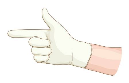 Hand proctologist with a latex glove. Vector illustartion.