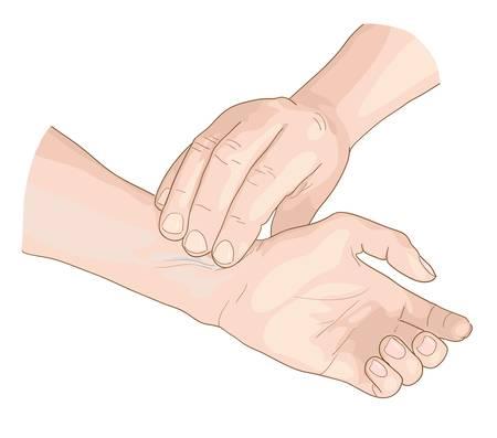 doctors and patient: Pulse. Ilustraci�n del vector.