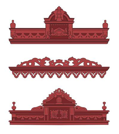 The wooden decorated for window. Vector illustration.