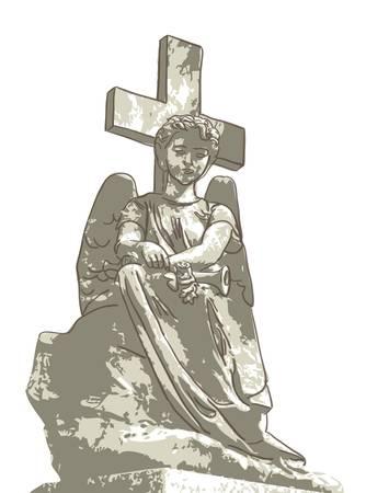angel cemetery: Sad angel and cross. Vector illustration.