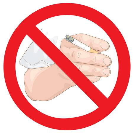 mal aliento: Pare la muestra de fumar. Mano con un cigarrillo. Ilustraci�n del vector.