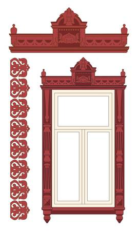 The wooden decorated window. Vector illustration.