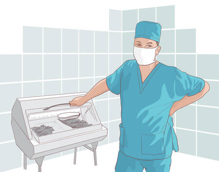 The doctor at work. Vector illustration. Stock Vector - 23297869