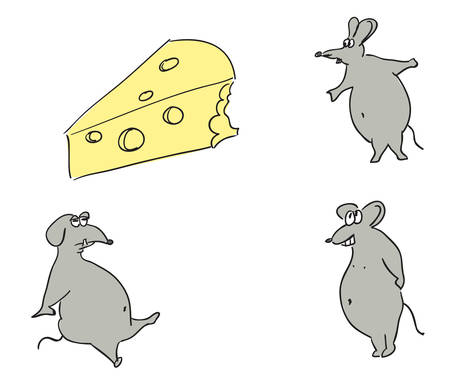Mice and cheese. Vector illustration. Illustration
