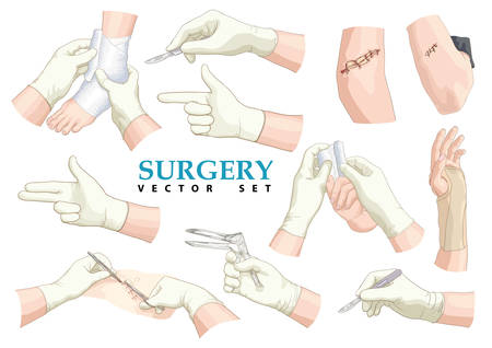 anklebone: Surgery. Vector set. Illustration