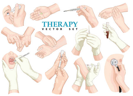 taking pulse: Therapy. Vector set.