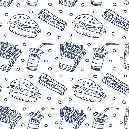 Comic cartoons fast food. Seamless sketch. Really childrens drawing.