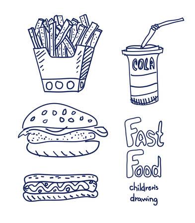 Fast food sketch Illustration