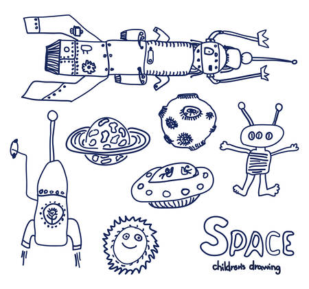 UFO and space sketch. Really childrens drawing.