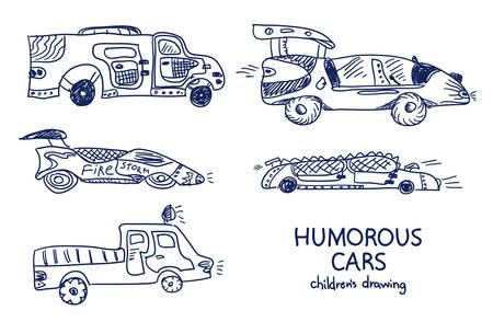 Comic cartoon cars. Vector set. Really childrens drawing.