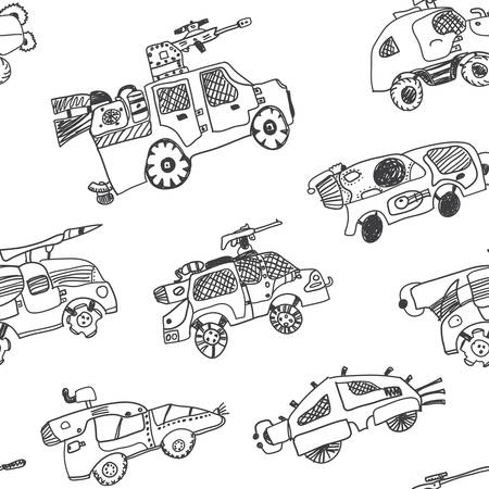 Comic cartoons of military cars. Seamless background. Real childrens drawing.